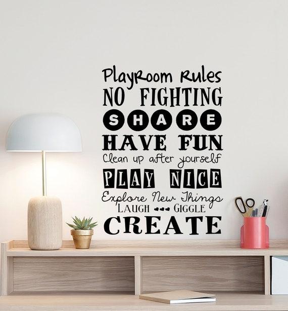 Playroom Rules Sign Wall Decal Play Room Quote Nursery Poster Boy Girl Bedroom Door Vinyl Sticker Kids Children Decor Playroom Wall Art 831