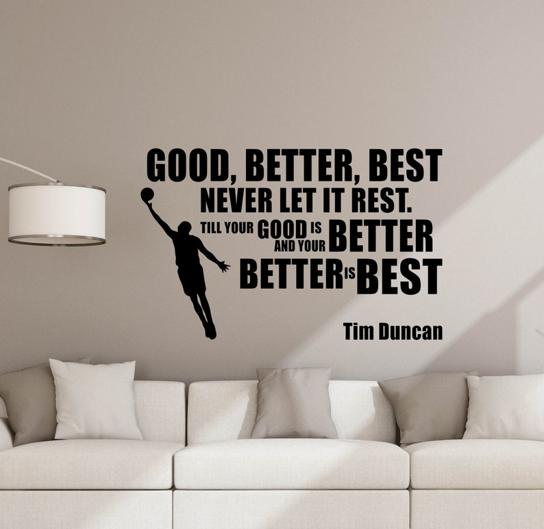 Tim Duncan Wall Decal Quote Basketball Poster Player Gifts Sign Gym Removable Vinyl Sticker Fitness Decor Home Playroom Sport Wall Art 5-66