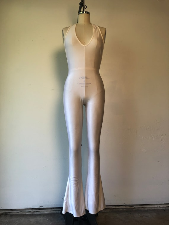 70s Disco White Spandex Jumpsuit with Bells