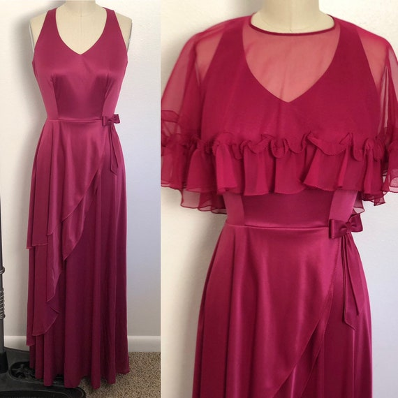 Dreamy 1970s Burgundy Wine Gown