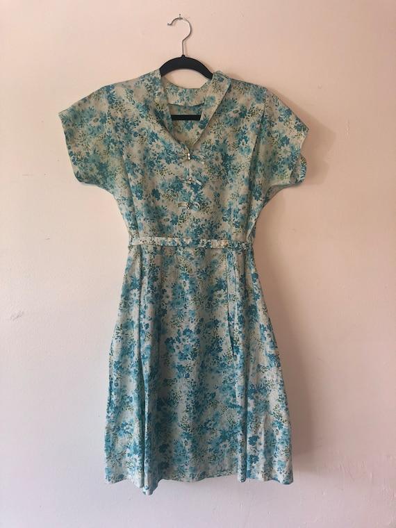50s Blue Floral Tea Dress with Belt