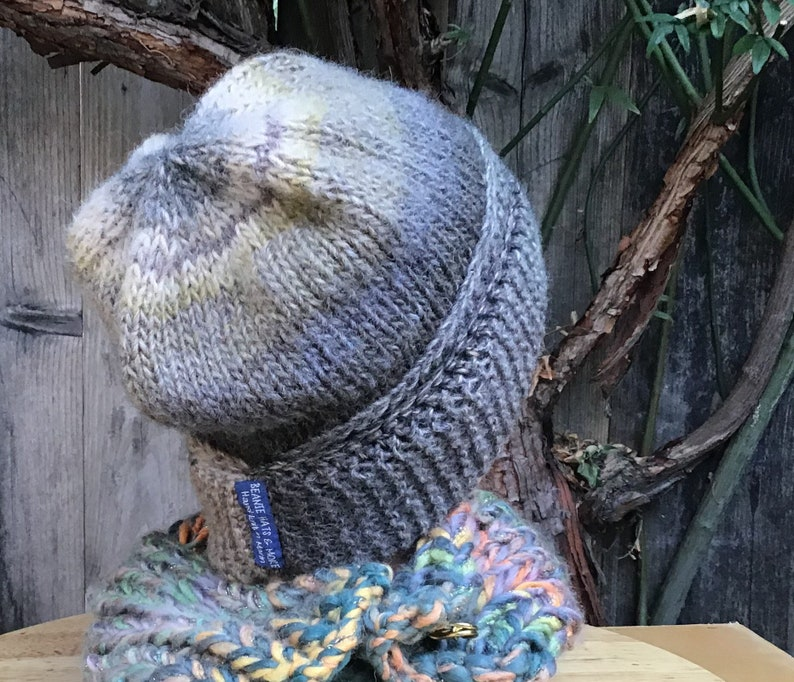 Hand knit beanie hat Made-in-USA Handmade hat Slouch hat Soft Italian import wool blend yarn Non-itch yarn Northern Cal Unisex Hat