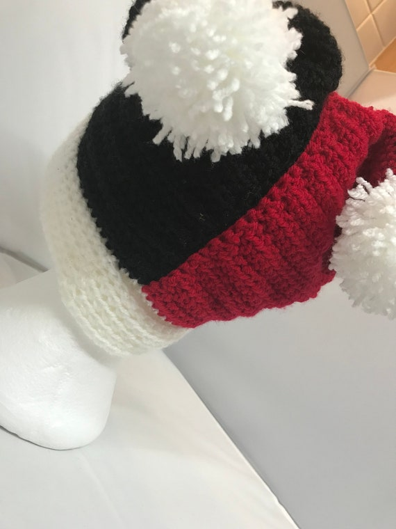 b6fbbe99689 Harley Quinn red and black winter jester hat    harley quinn