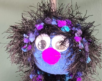 Blue, Purple and Black Fuzzy Handcrafted Marionette Puppet