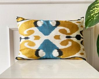 Ikat Velvet Pillow Boho Pillow Silk Ikat Pillowcase Throw Pillows Lumbar Pillows Ikat Cushion Geometric Pillowcase