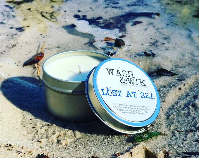 Featured listing image: Lost At Sea Soy Candle - 6 Ounce Tin (Phthalate Free)