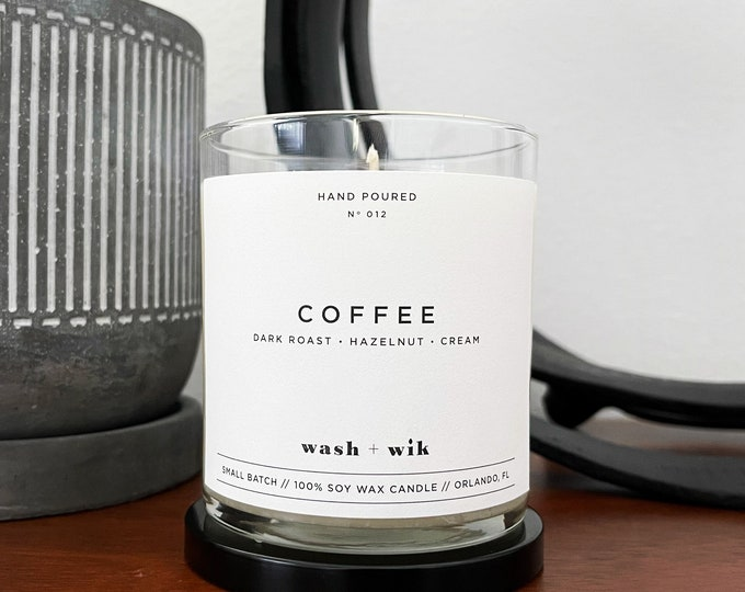 Featured listing image: Coffee Soy Wax Candle  |  Coffee Candle  |  Coffee Lover  |  Scented Candle  |  Soy Candle  |  Wash and Wik  |  Scent No. 012