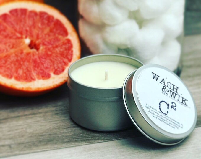 Featured listing image: Citrus Cotton (C2) Soy Candle - 6 Ounce Tin (Phthalate Free)