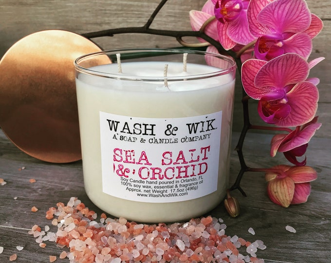 Featured listing image: Sea Salt & Orchid Soy Candle - 20oz 3 Wick Tumbler (Phthalate Free)