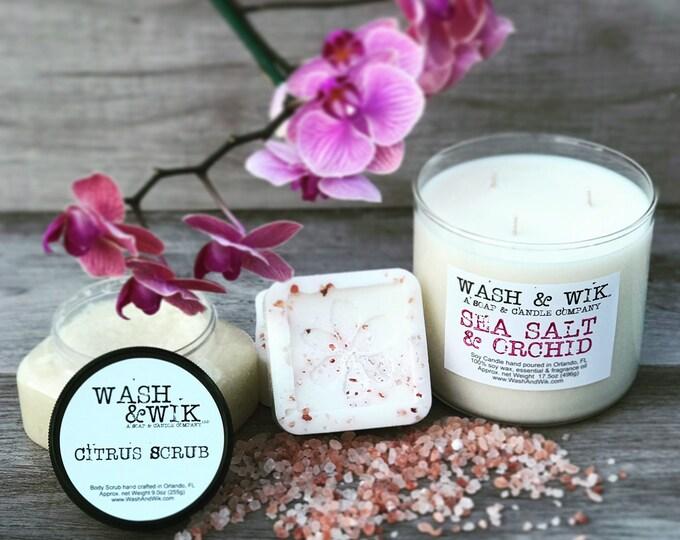 Featured listing image: 3 Item Gift Pack - 3 Wick Tumbler, Citrus Sugar Scrub, Pink Himalayan Salt & Grapefruit Soap