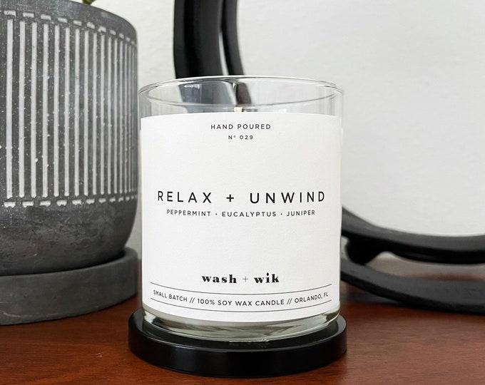 Featured listing image: Relax and Unwind Soy Wax Candle  |  Peppermint Soy Wax Candle  |  Eucalyptus Soy Wax Candle  |  Juniper  |  Wash and Wik  |  Scent No. 029
