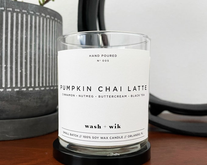Featured listing image: Pumpkin Chai Latte Soy Wax Candle  |  Cinnamon  |  Soy Candle  |  Scented Candle  |  Soy Candle  |  Wash and Wik  |  Scent No. 005