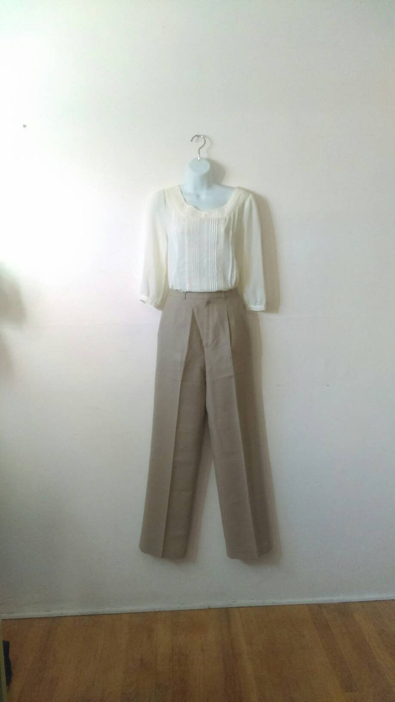 Size S Vintage Tan Wool High Waisted Pleated Pants By Expresso
