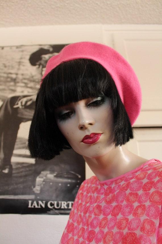 Vintage Pink Wool  Beret / 80's - 90's Hat