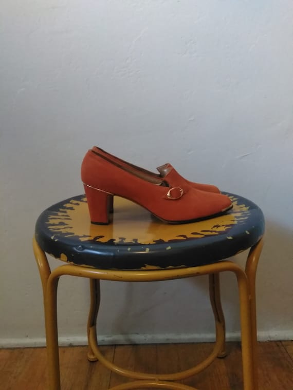 60's Orange & Gold Pumps / Vintage Women's Heels w