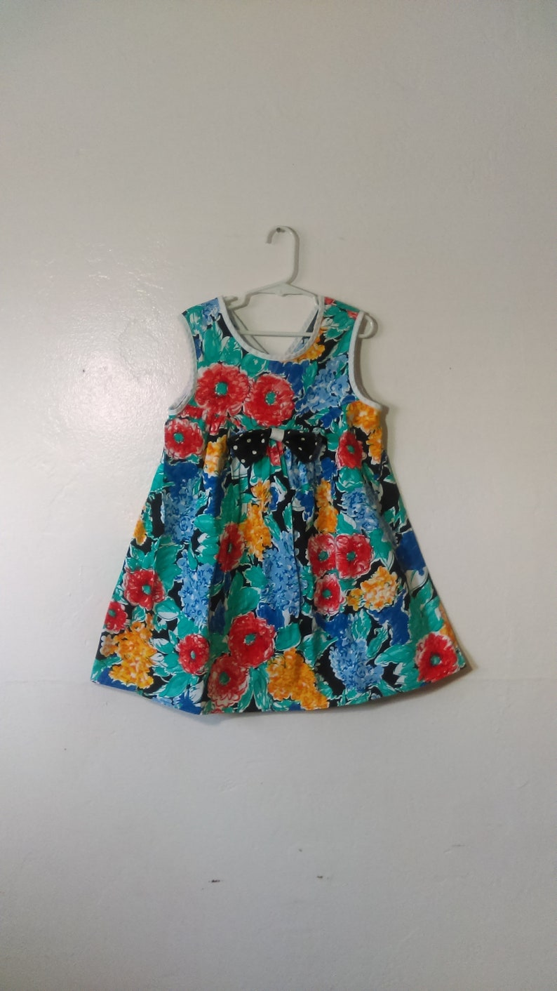 02088aa033 Girls Retro 90 s Colorful Floral Dress By Bonnie Jean Size
