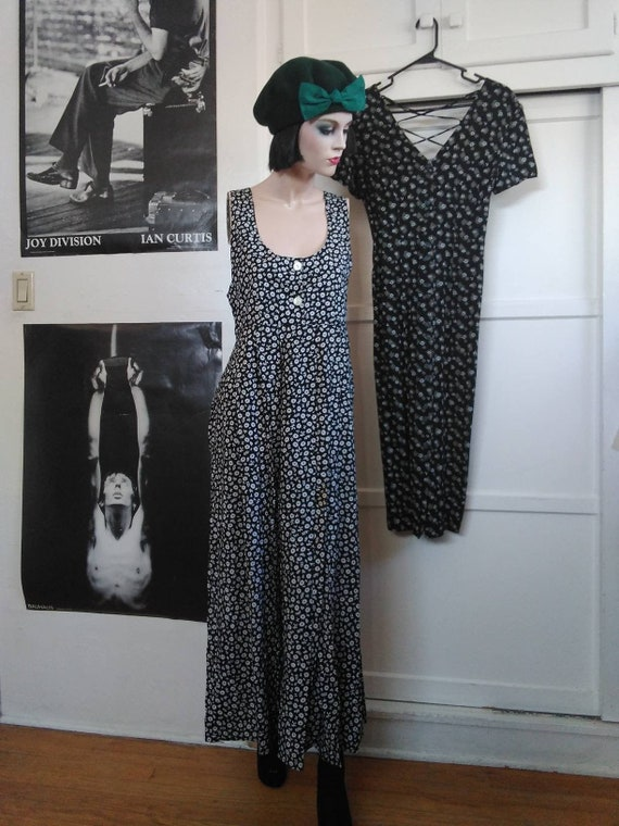 Vintage 90s Floral Print Sleeveless Dress with Tie Back Size L