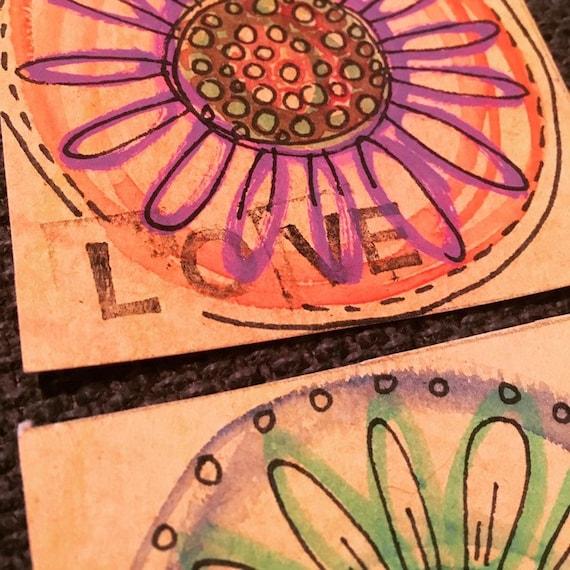 Handmade blank cards, sunflower daisy pop art design. Hand painted, illustration, floral, flower design