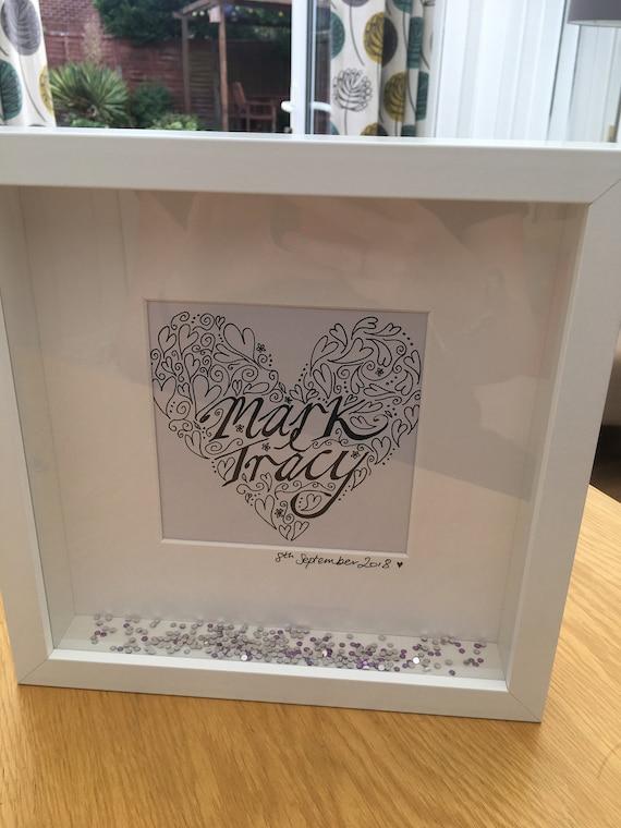 Hand drawn personalised wedding gift frame