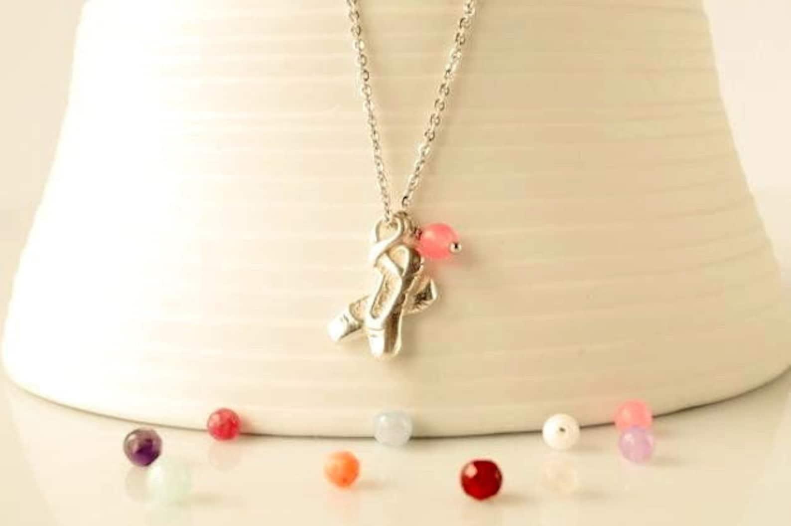 necklace ballet shoes 925 sterling silver ballerina