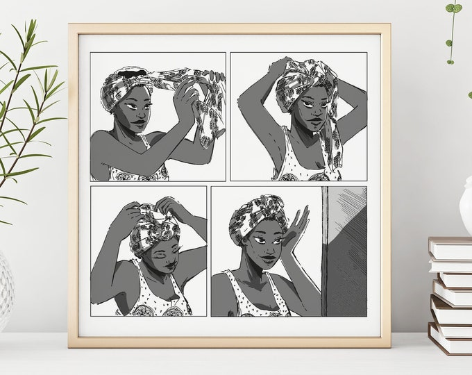 Wash Day Head Wrap Art Print