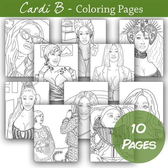 Printable Cardi B Coloring Pages Etsy