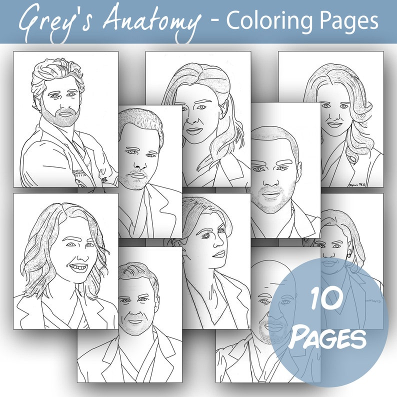Printable Grey's Anatomy Coloring Pages | Etsy