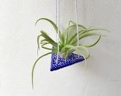 Air plant hanging holder Blue FREE UK SHIPPING Patterned hanging plant indoor Tillandsia Holder