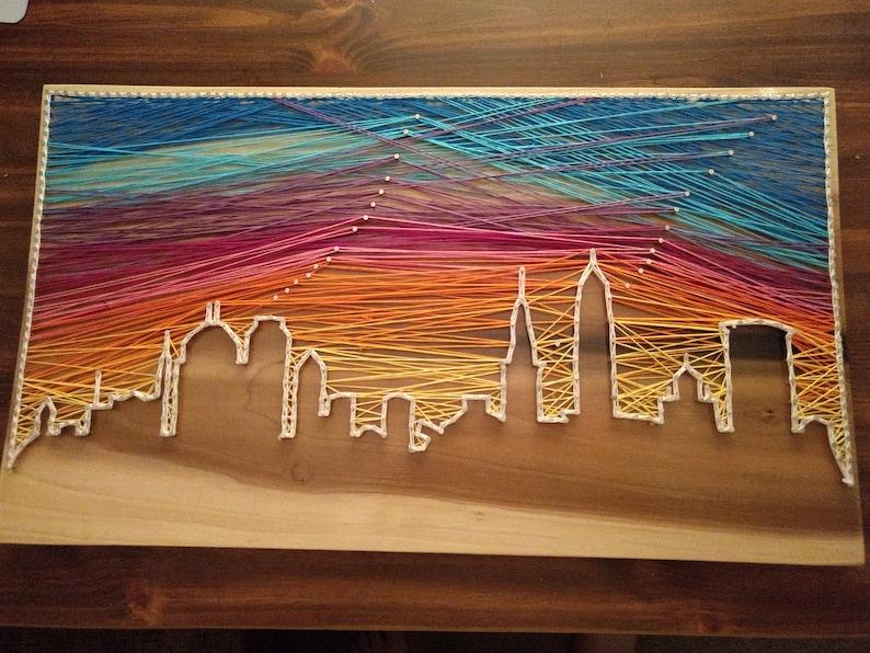 City Skyline String Art with Sunset image 1