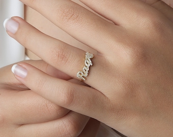 Personalized Pave Stone Jewelry  #ND03F63 Custom Pave Stone Name Ring Personalized Pave Stone Name Ring Dainty Gold Pave Stone Word