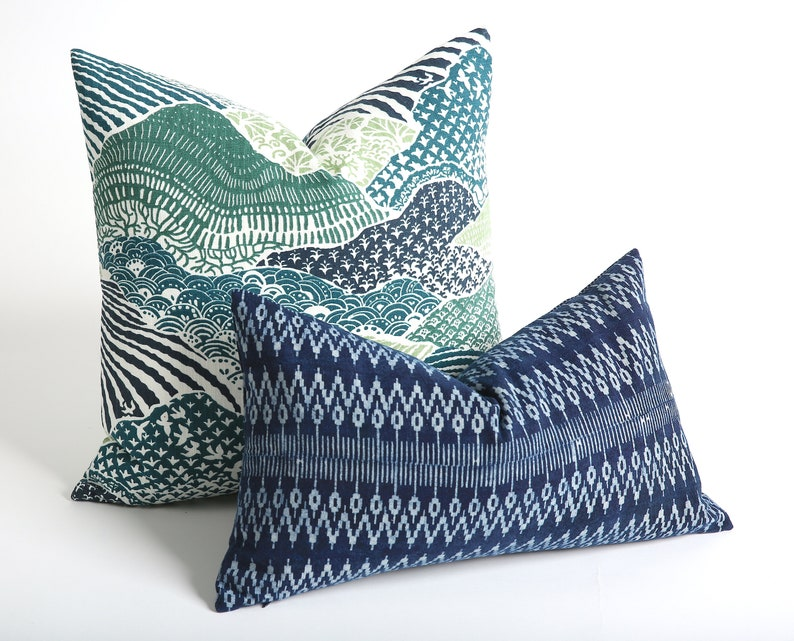 Blue and green batik custom pillows