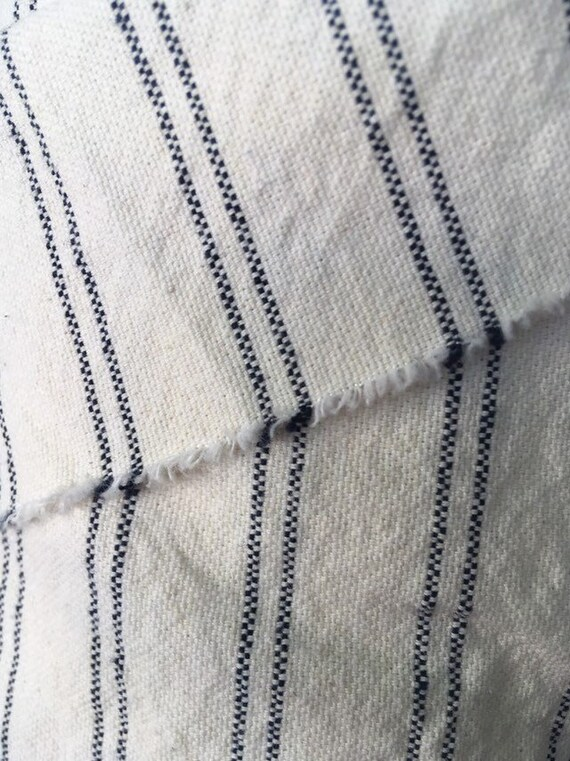 Ticking Fabric By The Yard Navy Home Decor Fabric Cotton Etsy