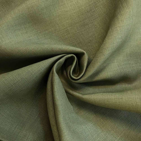 Olive Linen Fabric By The Yard Belgian Linen Upholstery Etsy
