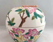 Vintage Chinese Ceramic Big Jar Storage Tea Canister Hand Painted Colorful Floral Birds French Studio Vintage