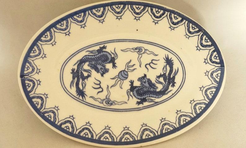 Vintage Chinese Ceramic Plate Dish Blue White Dragon Asian Art Oriental Decor Display Gift French Studio Vintage