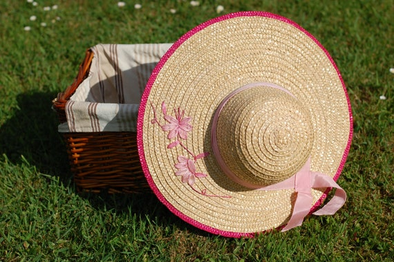 Vintage Straw Hat Wide Brimmed Woven Summer Hat Wo