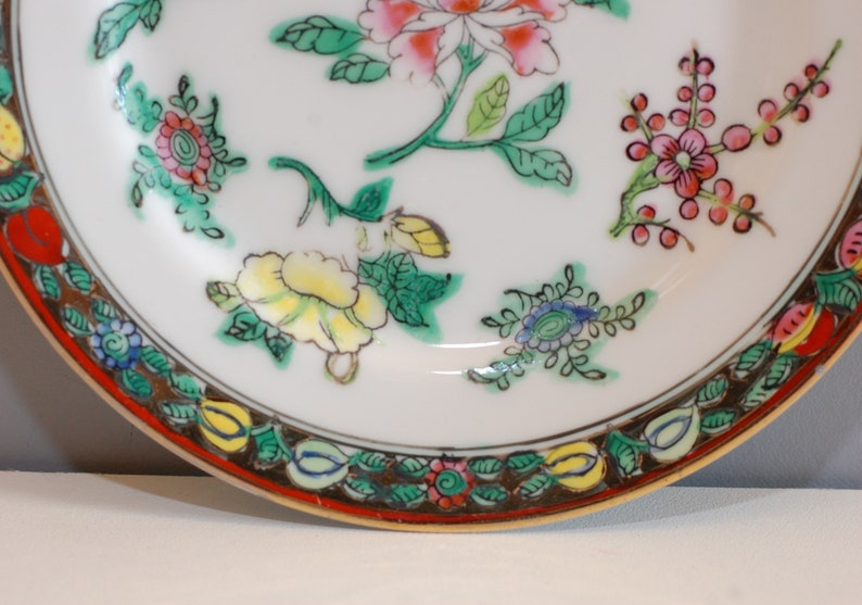 Vintage Pair Chinese Famille Rose Plates Hand Painted Floral Asian Art Oriental Decor Display Gift French Studio Vintage