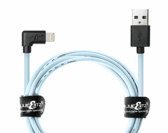396db6f2ed6bf6 JuicEBitz 20AWG Apple MFi Certified Lightning Angled USB Data Sync Charger  Cable Lead for iPhone 5 6 6s 7 8 X Plus, iPad 4 Pro, Mini, iPod
