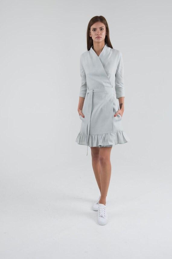 Gusset cut dress. Pure Linen Wrap Dress Long sleeves summer linen dress