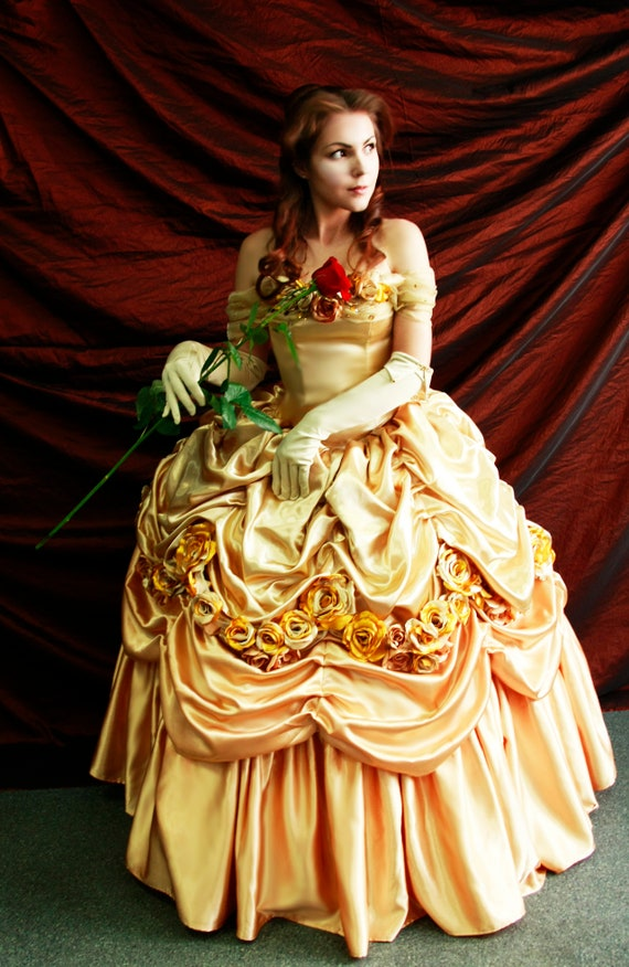 Belle S Gold Dress Costume Adult Belle Cosplay Costume Etsy