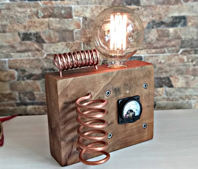 INDUSTRIAL PIPE LAMP Edison lamp-Rustic home decor-Steampunk lamp-Unique table lamp-Industrial lighting Copper spiral lamp dimmer controled