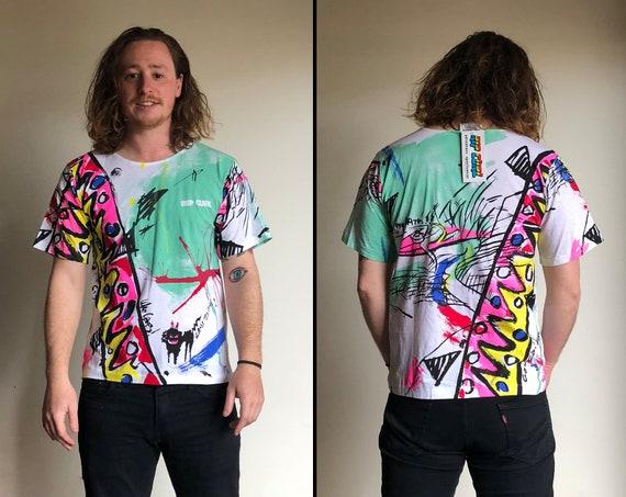 Tie Dye Crop Top,RAINBOW KALEIDOSCOPE Tank,80s Neon Rainbow Sleeveless Top,Neon Rainbow Cropped Top,80s Cotton Tee,Vintage Bright T-Shirt