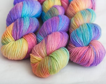 Rainbow yarn, hand dyed yarn, alpaca yarn, merino wool yarn, knitting yarn fingering  sock weight 410 yds / 100g, lace weight 710 yds / 100g