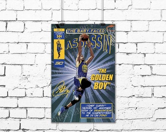 e7328e08da4c Steph Curry Comic Book Style Poster Art Print