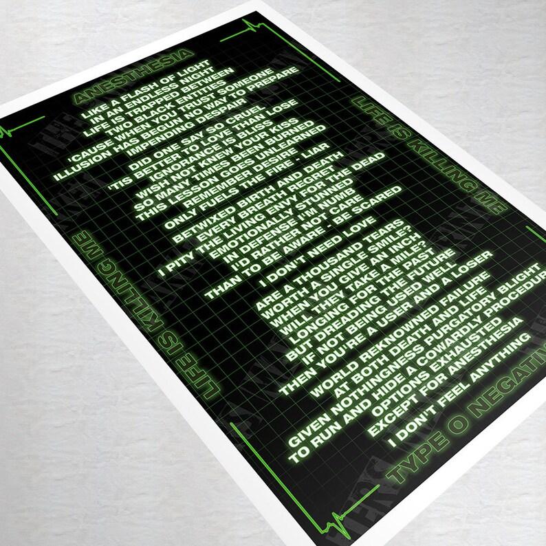 Type O Negative Anesthesia Poster Life Is Killing Me Peter Steele Lyrics  Art Print