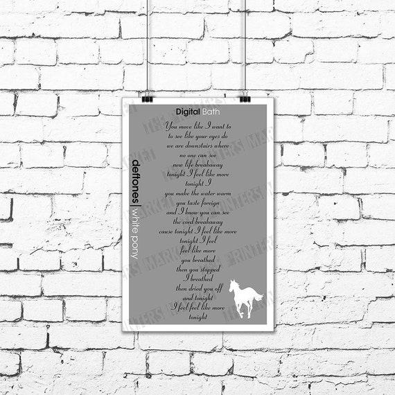 a5368ff30 Deftones Digital Bath Song Lyrics Poster White Pony Art Print | Etsy