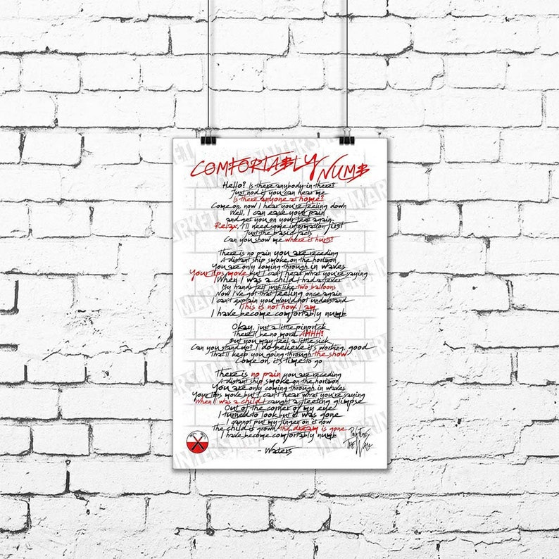 Pink Floyd COMFORTABLY NUMB Song Lyric Poster Roger Waters The Wall Original Art