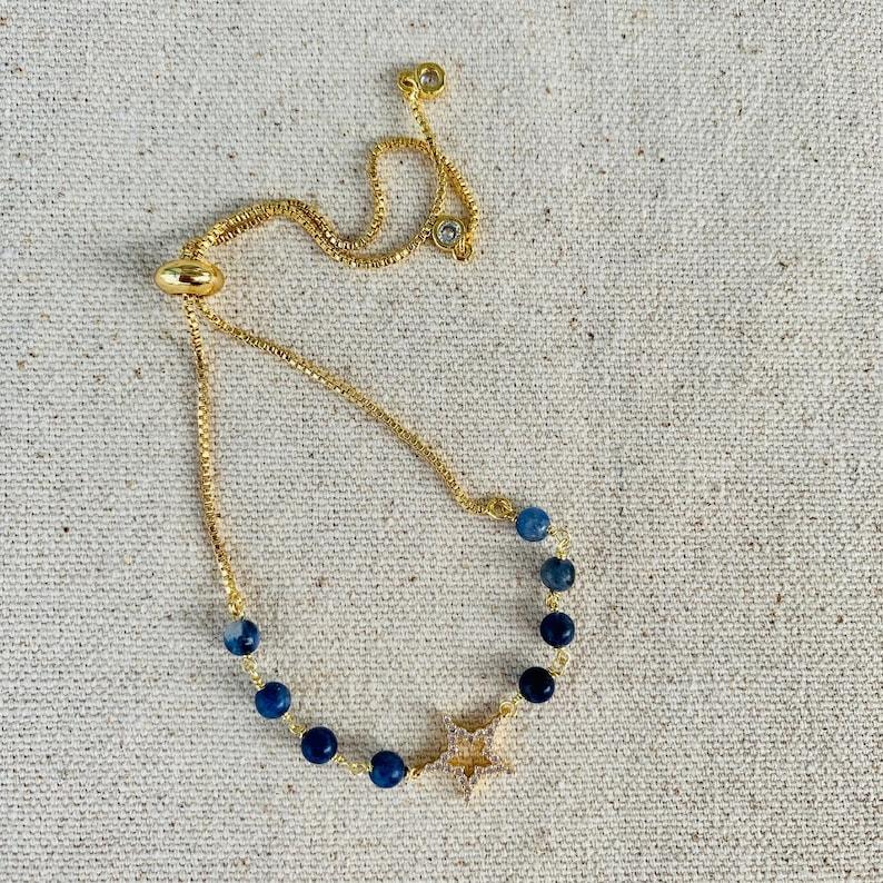 Star and Natural Stone Adjustable Bracelet Friendship Bracelet Star Charm Adjustable Bracelet