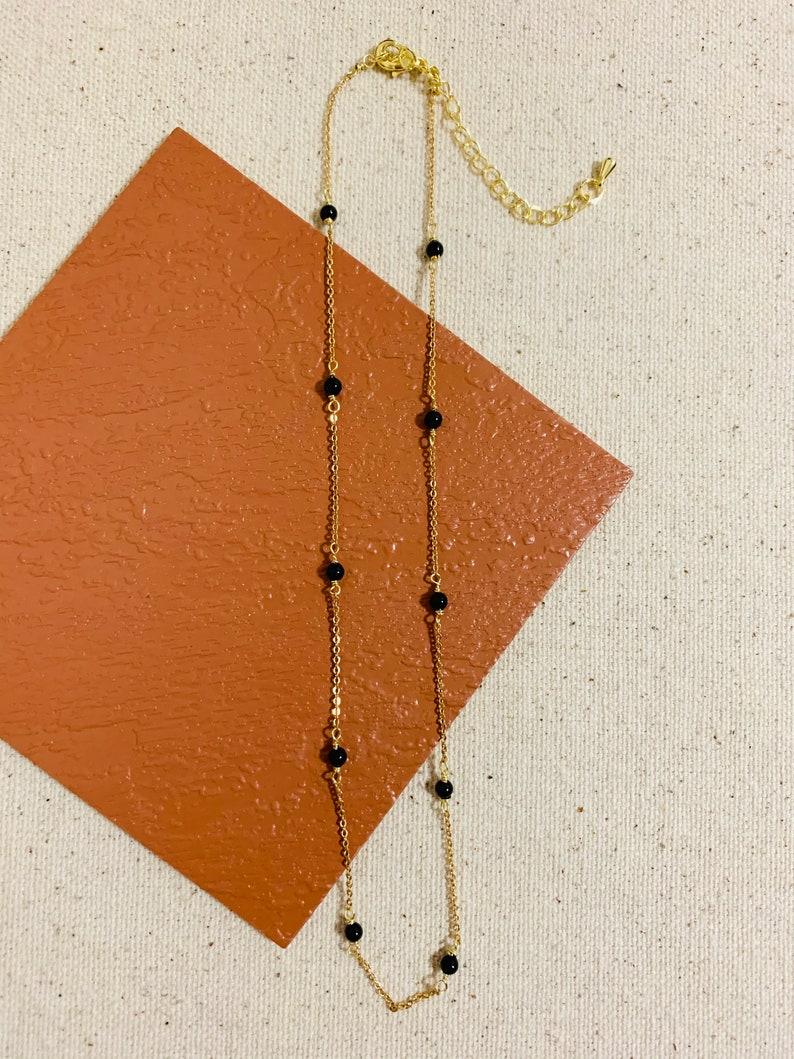 Black Pearl Gold Chain Necklace