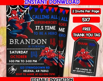 Spiderman Invitation Birthday Printable Card Invite Party Digital PDF